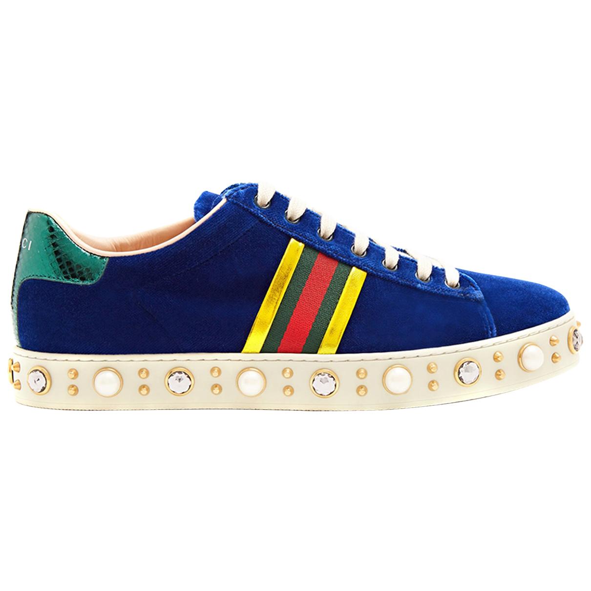 Gucci - Baskets Ace pour femme en velours - bleu