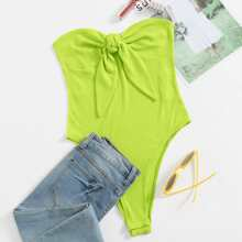 Neon Lime Tie Front Rib-knit Tube Bodysuit