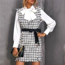 Vestido tweed de cuadros con cinturon de cuello cruzado sin top