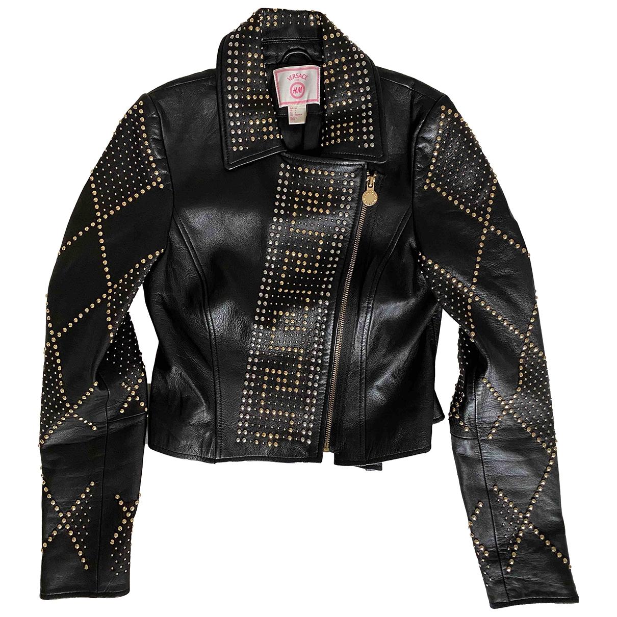 Versace X H&m \N Lederjacke in  Schwarz Leder
