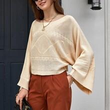 Pullover mit Bootshals und Fledermausaermeln