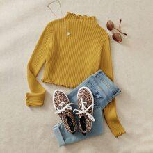 Lettuce Trim Rib-knit Sweater