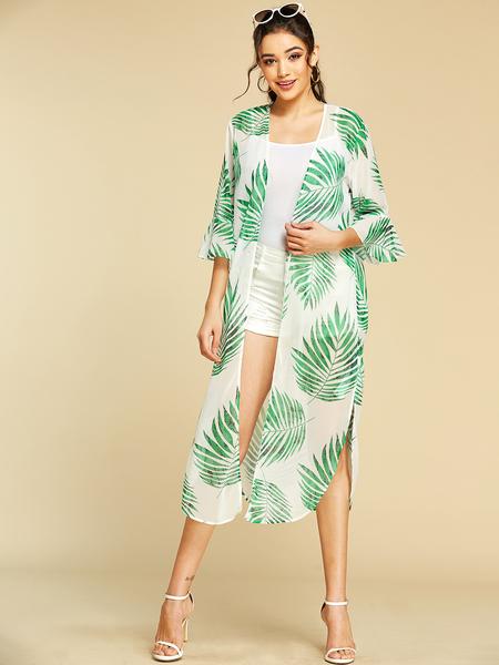 YOINS Green Leaf Printed Bell Sleeves Split Design Cover-up