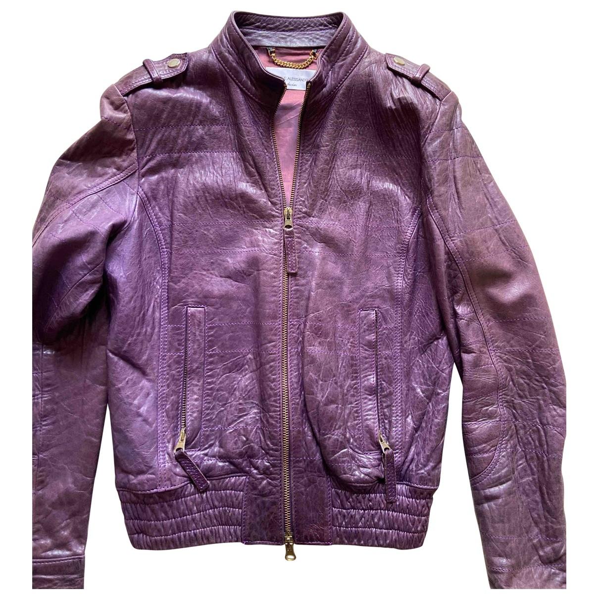 Daniele Alessandrini \N Purple Leather jacket for Women 42 IT