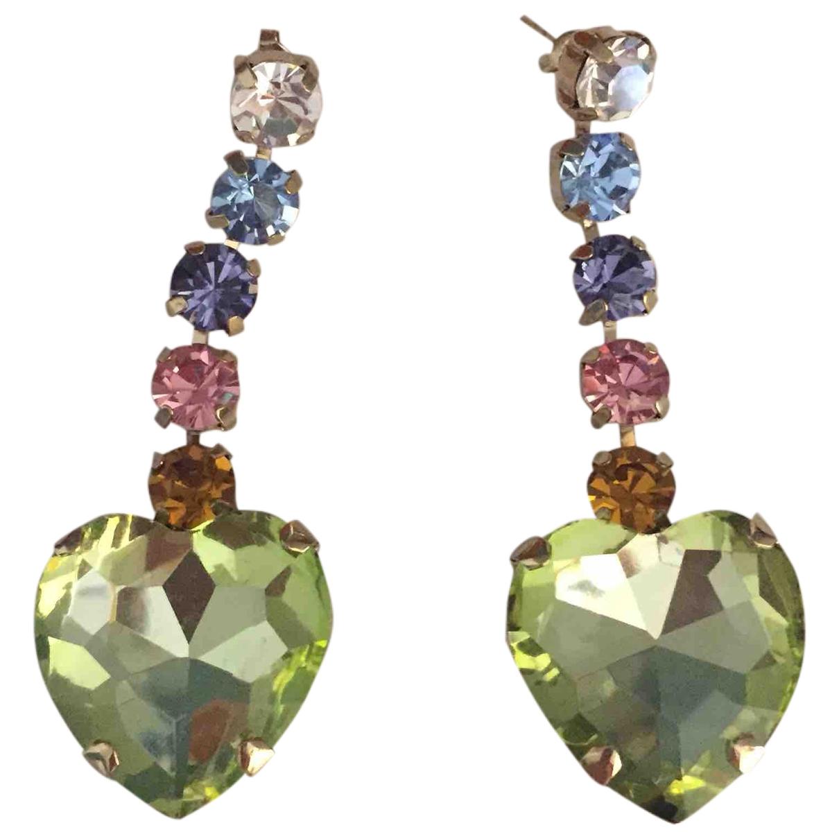 - Boucles doreilles Motifs Coeurs pour femme en cristal - multicolore