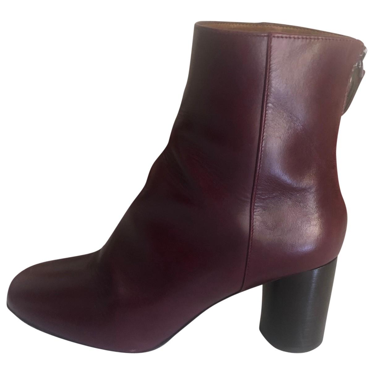 Sandro - Boots Fall Winter 2019 pour femme en cuir - bordeaux