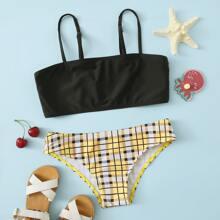 Bikini Badeanzug mit Karo Muster