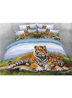 Vivilinen 3D Snuggling Tigers Printed 5-Piece Comforter Sets