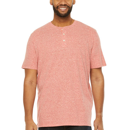 The Foundry Big & Tall Supply Co.-Big Mens Short Sleeve Henley Shirt, Large Tall , Orange