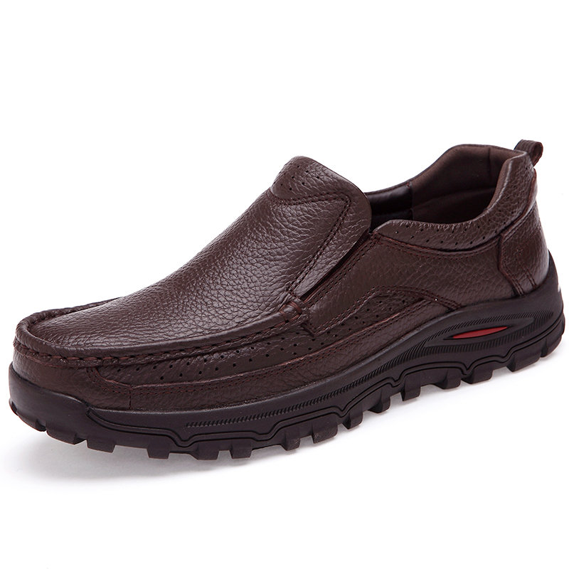 Large Size Men Classic Comfy Business Slip On Casual Leather Shoes
