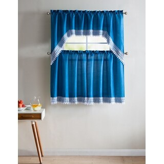 Jill 3-Piece Faux Silk Macrame Kitchen Curtain Set, Tiers 29x36, Valance 58x36 Inches (Blue)