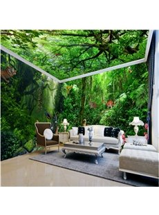 3D Green Forest and Tiger Waterproof Dampproof Eco-friendly Self-Adhesive Ceiling and Wall Murals