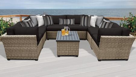 Monterey Collection MONTEREY-09a-BLACK 9-Piece Patio Set 09a with 4 Corner Chair   4 Armless Chair   1 Storage Coffee Table - Beige and Black