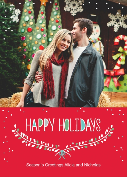 Christmas Photo Cards 5x7 Folded Cards, Standard Cardstock 85lb, Card & Stationery -Bright Boughs