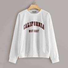 California Graphic Oversize White Sweatshirt