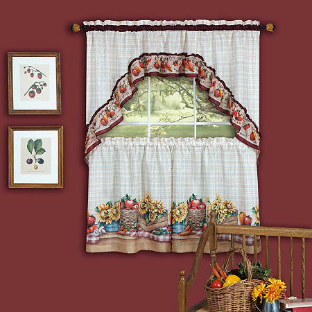 Farmers Market 3 -pc Rod-Pocket Window Tier and Swag Valance Set, One Size , Multiple Colors
