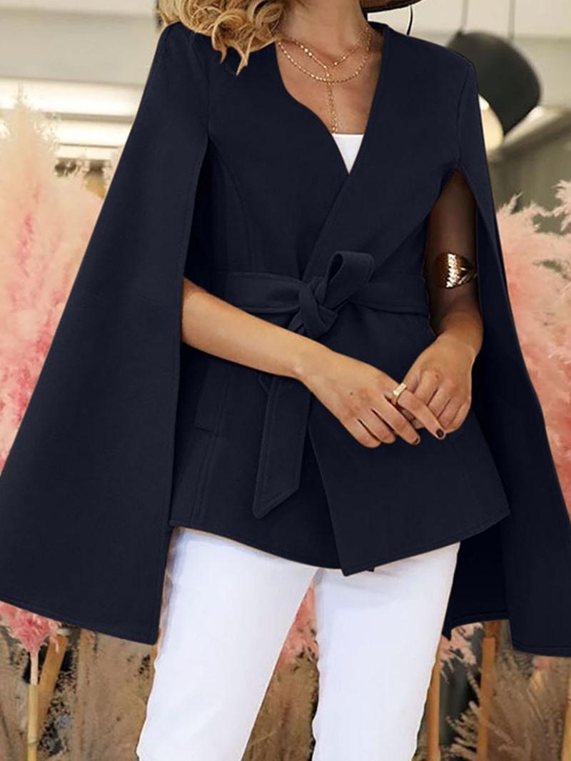 Ericdress V-Neck Plain Mid-Length Long Sleeve Blouse