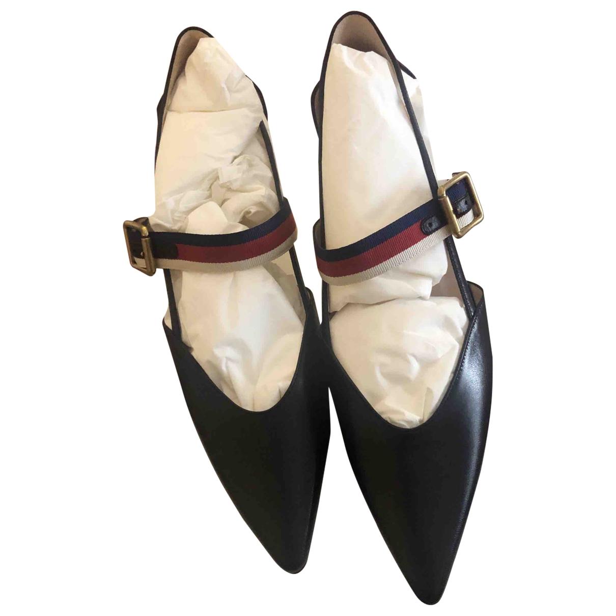 Gucci Sylvie Black Leather Heels for Women 40 EU
