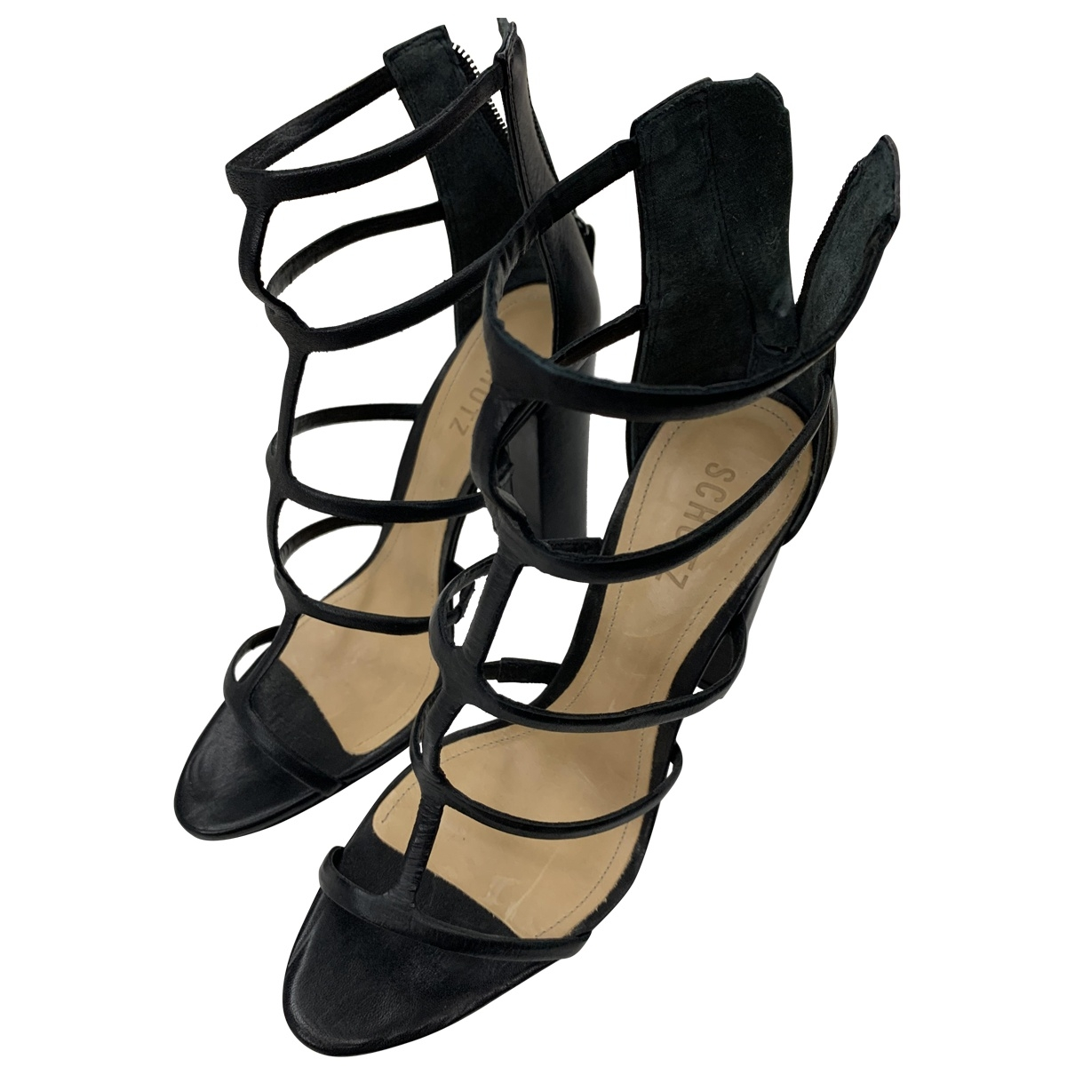 Schutz \N Black Leather Sandals for Women 8.5 US