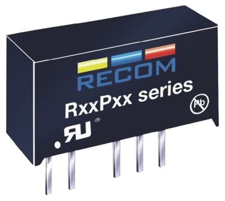 Recom 1W Isolated DC-DC Converter Through Hole, Voltage in 10.8 → 13.2 V dc, Voltage out 5V dc