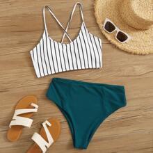 Striped Lace-up Back High Waisted Bikini Swimsuit