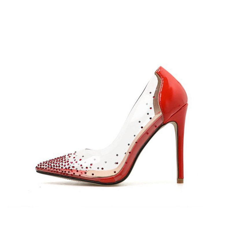 Ericdress PVC Rhinestone Pointed Toe Stiletto Heel Women's Pumps