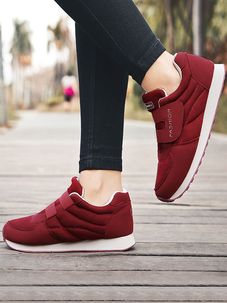 Milanoo Women Sneakers Purple Round Toe Velcro Detail Casual Shoes