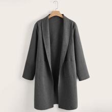 Mantel mit Schal Kragen und zwei Taschen