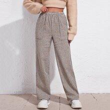 Pantalones de pierna ancha de cuadros de cintura elastica