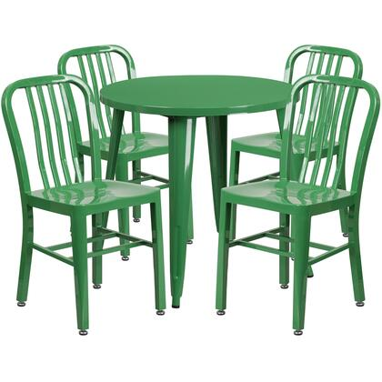 CH51090TH Collection CH-51090TH-4-18VRT-GN-GG 5 Piece Indoor-Outdoor Table Set with 30