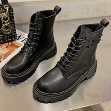 Spiked Lace-up Combat Boots