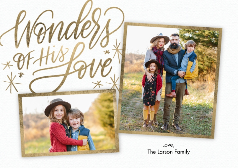 Christmas Photo Cards Flat Matte Photo Paper Cards with Envelopes, 5x7, Card & Stationery -Christmas Wonders Love Script by Tumbalina