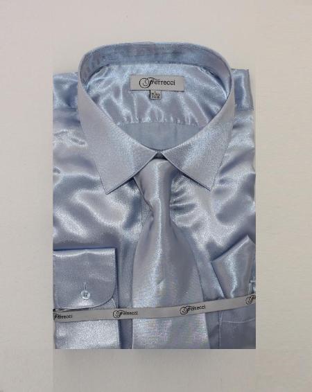 Mens Shiny Luxurious Shirt Sky Blue