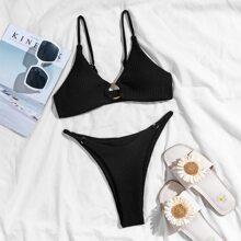 Gerippter Bikini Badeanzug mit Kreis Bindung