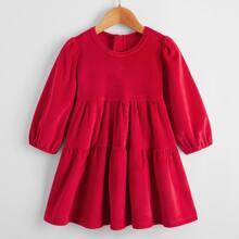Baby Girl Velvet Puff Sleeve Smock Dress With Detachable Collar