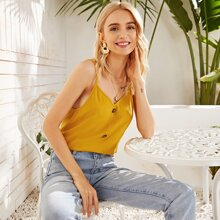 Button Front Solid Cami Top