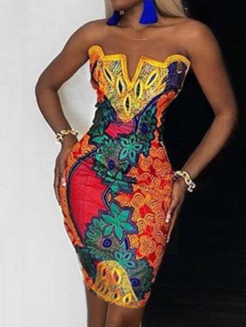 Ericdress Sleeveless Print Above Knee Mid Waist Pullover Women's Dress
