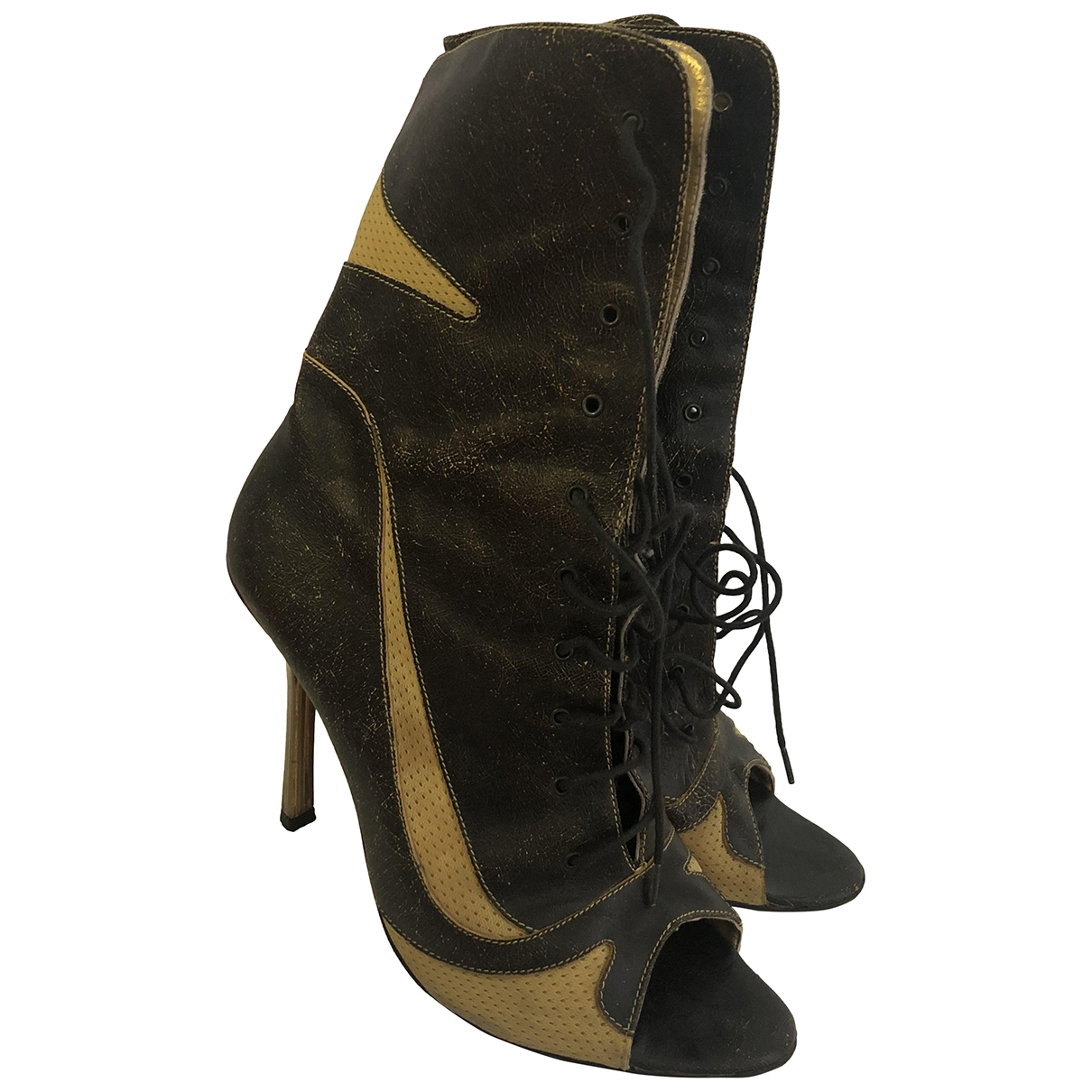 Just Cavalli - Boots   pour femme en cuir - kaki