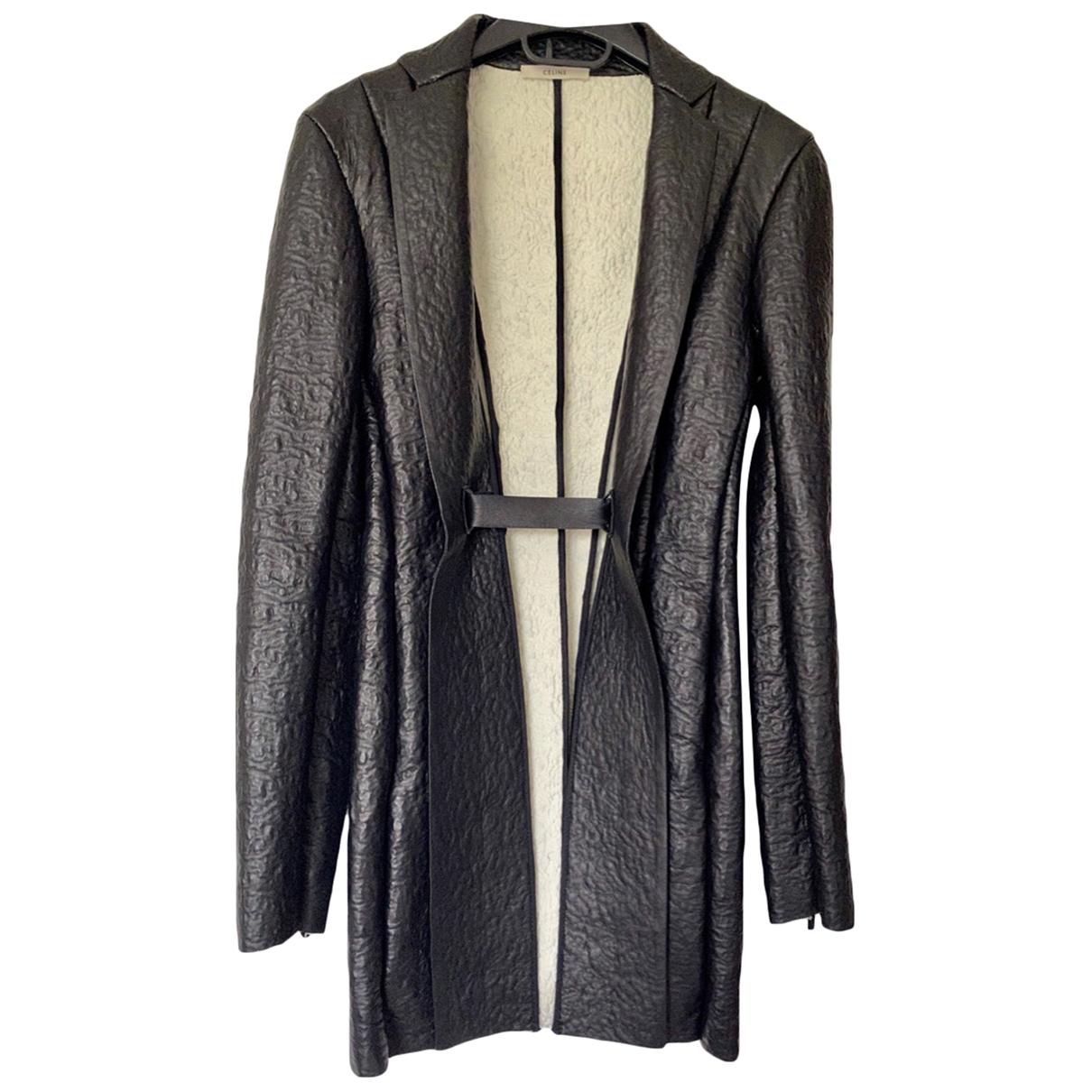 Celine \N Black Leather coat for Women 36 FR