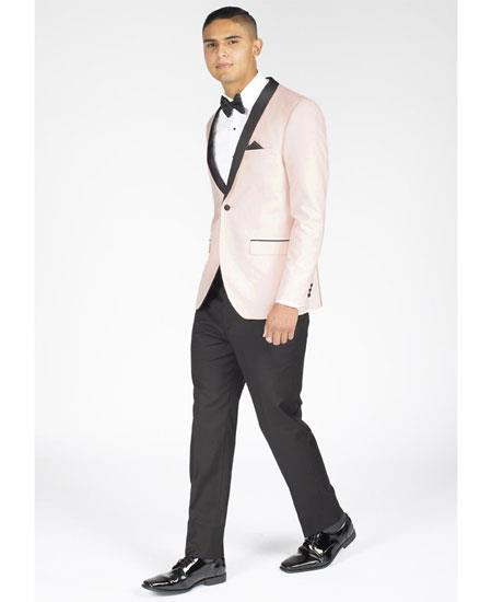 Men's Single Breasted Slim Fit Shawl Lapel Blush Pink Tuxedo