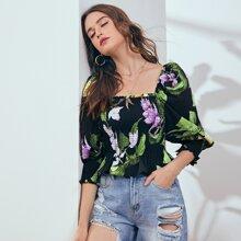 Bluse mit Blumen & tropischem Muster und Schosschen