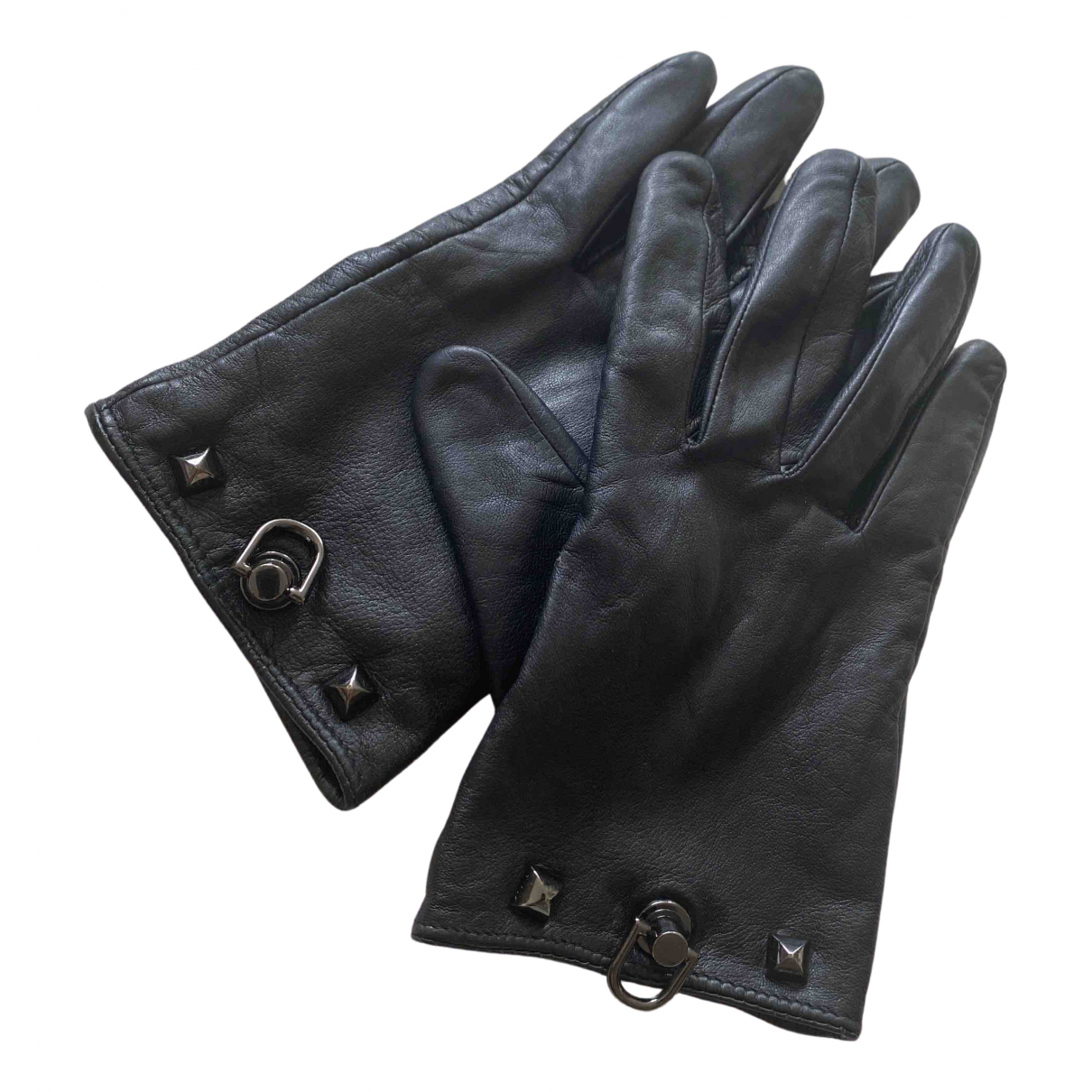 Hermès \N Black Leather Gloves for Women 8 Inches
