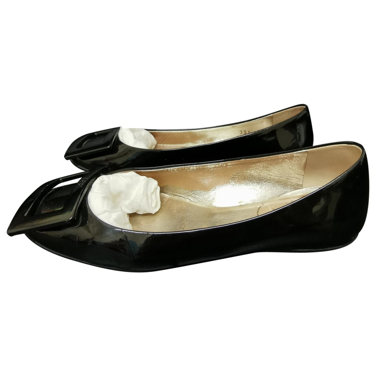 Roger Vivier Gommetine Black Patent leather Ballet flats for Women 35.5 EU