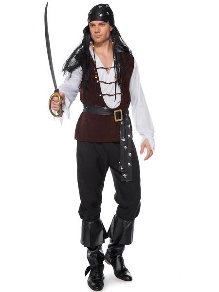 Milanoo Pirate Halloween Costumes Black Men 4 Piece Holidays Costumes