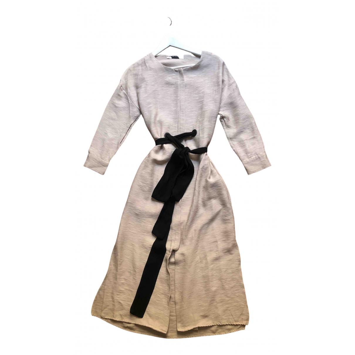 Zara \N Kleid in  Beige Leinen