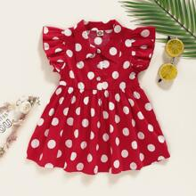 Baby Girl Polka Dot Ruffle Sleeve Shirt Dress