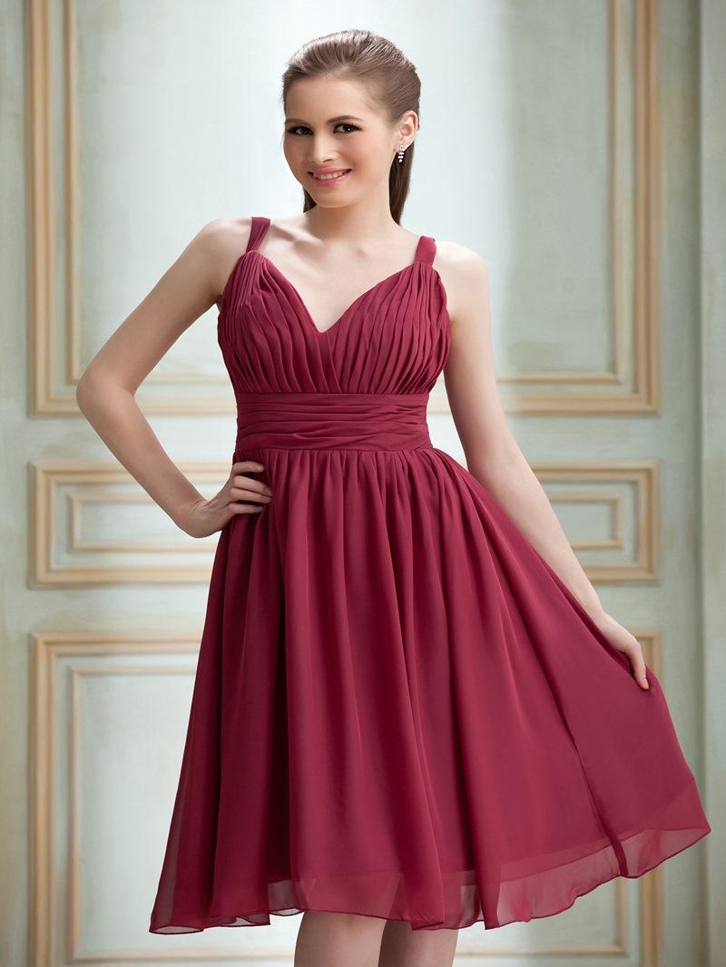 Elegant A-Line V-Neck Knee-Length Bridesmaid Dress