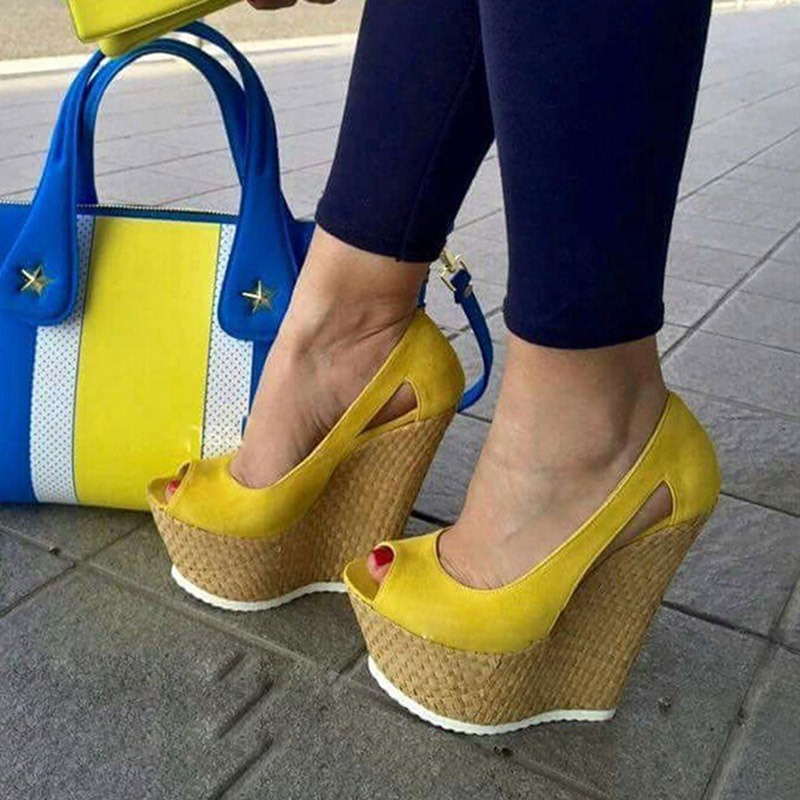 Ericdress Yellow Slip-On Platform Peep Toe Wedge Sandals