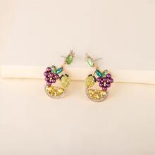 Rhinestone Fruit Drop Earrings