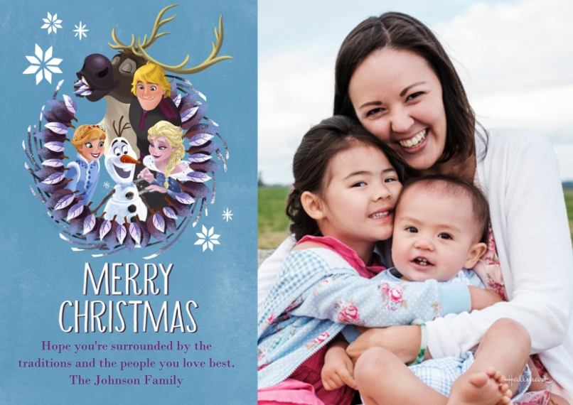 Christmas Photo Cards 5x7 Cards, Premium Cardstock 120lb with Elegant Corners, Card & Stationery -Frozen Merry Christmas